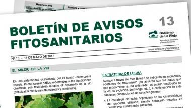 Boletin de Avisos fitosanitarios 13 - Protección contra el mildiu